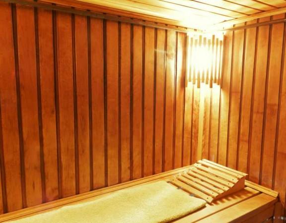 Interior of modern russian sauna cabin - place for massage