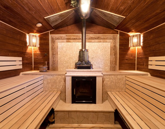 Interior of a russian sauna made from wood